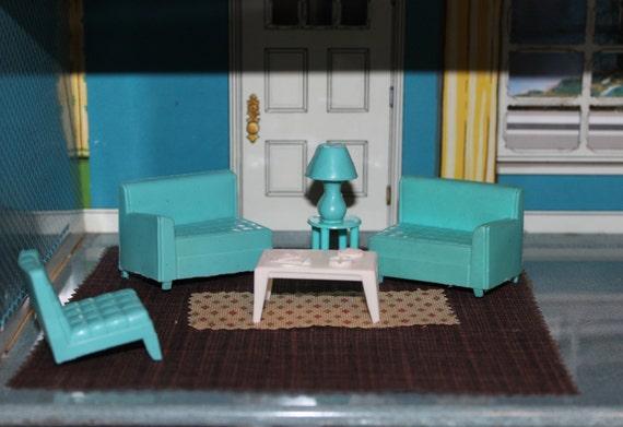 Dollhouse Furniture Living Room Soft Plastic Teal By Prettydish