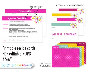 Printable recipe cards, 4x6 recipe cards, recipe card dividers, editable recipe cards, recipe card pdf, Instant Download- 283