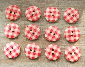 12 pcs-fresh style wooden red plaid buttons/15mm