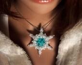 Tutorial Snowflake Pendant, Beading Pattern, DIY Jewelry making tutorial, spike bead tutorial, gift for her