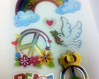 6  scrapbooking  appliques / peace and love  stickers