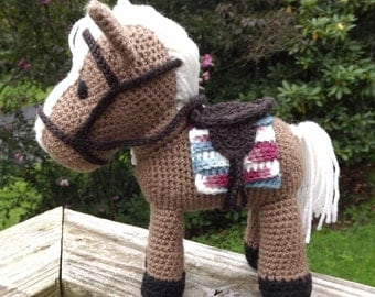 Horse Amigurumi Pattern With Removable Saddle, Saddle Blanket, and Bridle