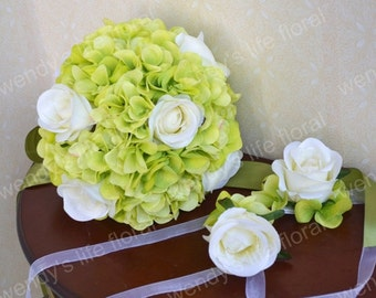 Wedding Bouquet Artificial Bouquet Wedding Flowers Real Touch Flowers green white
