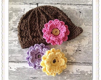 MADE TO ORDER, Crochet Newsboy hat with interchangeable 3 flowers, add extra flowers, sizes newborn to Adult, 100% cotton; Made to Order