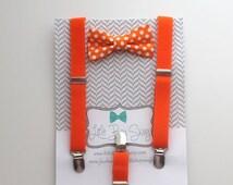 Orange Bow Tie Suspender Set..boys bow tie suspender set..children bow tie..baby boy suspenders..kids bow tie..ringbearer bowtie..weddings