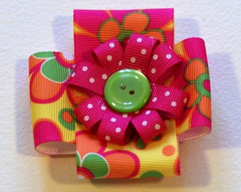 Bright Flower Square Hair bow - 2 3/4 inch