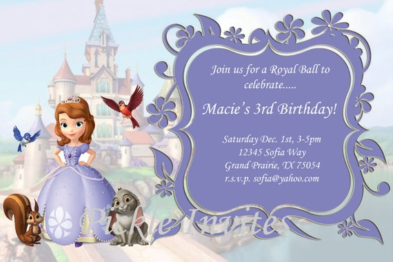 Items Similar To Sofia The First Invitation And Thank You Card