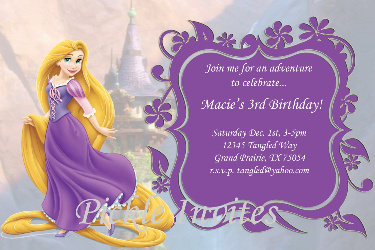 Tangled Rapunzel Invitation and Thank You Card Printable