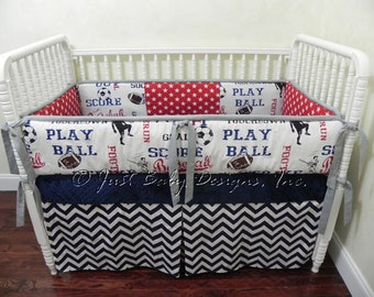Custom Baby Bedding Set Lucas -  Sports w/ Navy Chevron and Red Stars