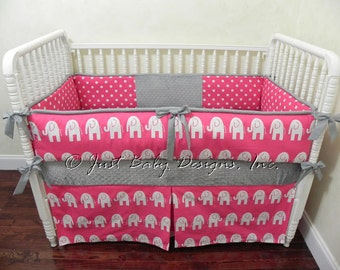 Elephant Baby Bedding Set Katie  - Girl Baby Bedding, Hot Pink and Gray Crib Bedding