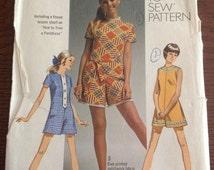 Simplicity 8667 - Junior Petites / Misses MINI-PANTDRESS, Size 16, Bust 38 - Summer Apparel - Retro 60s Fashion, Styles, Trends