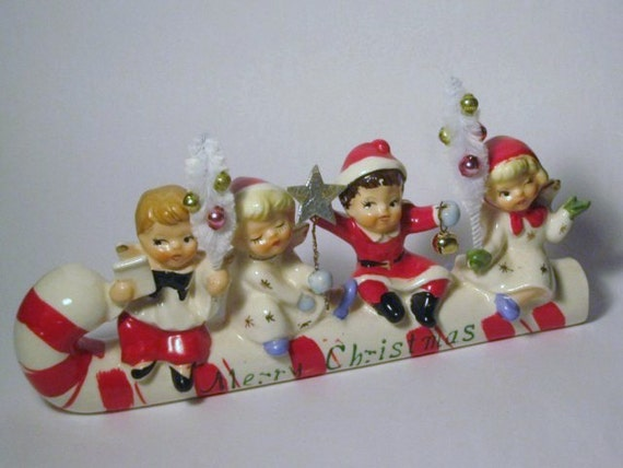 Vintage Merry Christmas Large Candy Cane Sleigh Angel Kids