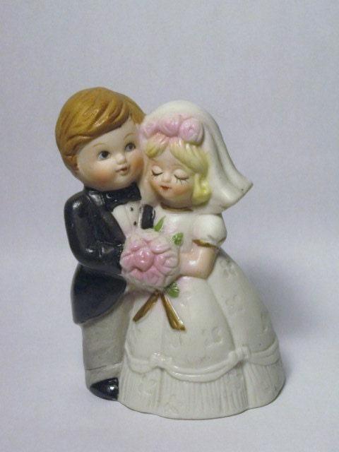 Vintage antique bride groom bell