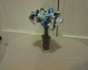 Miniature vase & flowers.