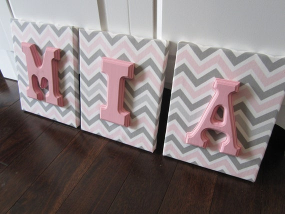 Nursery Decor Wooden Wall Letters : Items similar to wall canvas letters nursery decor