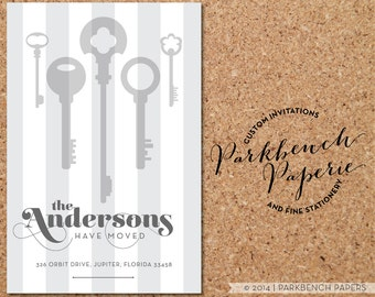 Moving Announcement - Vertical Grey Keys - Personalized with your new address