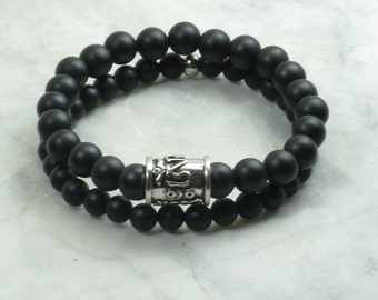 Nichiren Bracelets for Men- Black Agate Mala Beads - courage, grounding, protection,and removing obstacles