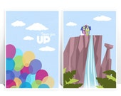 Disney Pixar Up - SET of two - Balloons Paradise Falls - MANY SIZES - Modern Film Children Kids Nursery Art Print