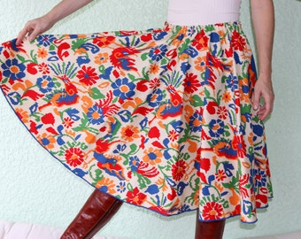 Vintage Tablecloth Circle Skirt - FAUX FLAME Stitch Vibrant one of a kind!  A TableWears gem