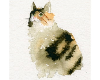 Cat Art - Calico Kitty - 13x19 LARGE  Fine Art Print - Cat Watercolor - Kitty Painting