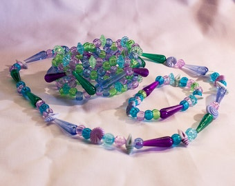 Sea themed Kandi Set Necklace, Single and Cuff