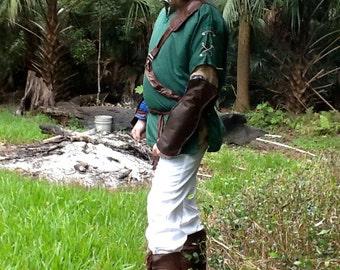 Link Cosplay Tunic or jerkin hat Belt Set Arm Gauntlets Legend of Zelda Costume GREEN  Red or Blue Twilight Princess