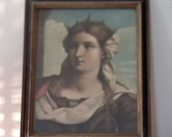 old framed print of St Barbara by Palma Vecchio