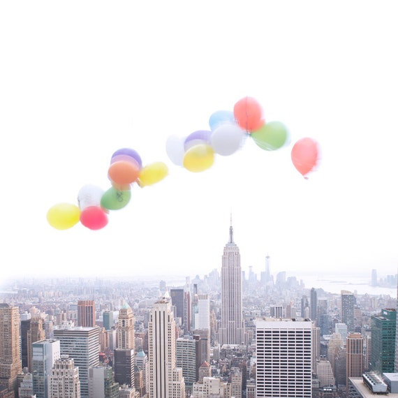 Balloons Over Manhattan - Photography of New York City skyline - urban wall decor - nyc print - whimsical - minimal art