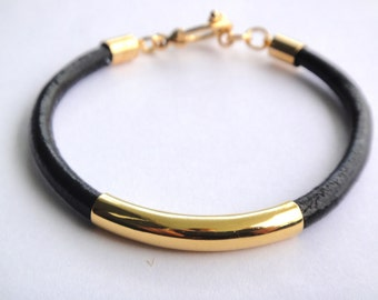 Leather Tube Bracelet, Gold, 4mm Thick Leather, 8 Colors