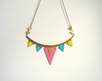 Neon Geometric Necklace, Brass and Wood Triangles Bib,Wood Tribal Necklace,Geometric Jewelry