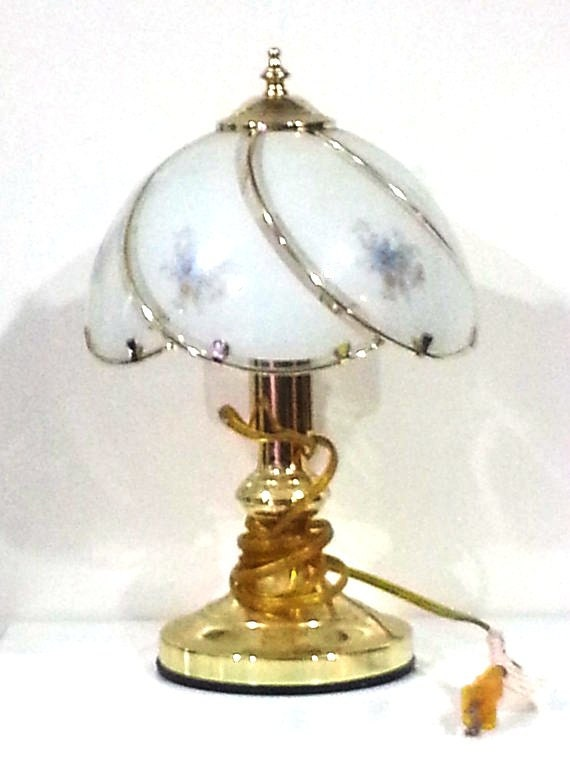 Shabby Chic Touch Lamp with Frosted Glass Shade and Blue