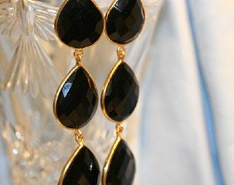 BLACK ONYX, TRIPLE earrings, gold vermeil, bezeled, gold filled, french hook, dangle earrings, large black onyx