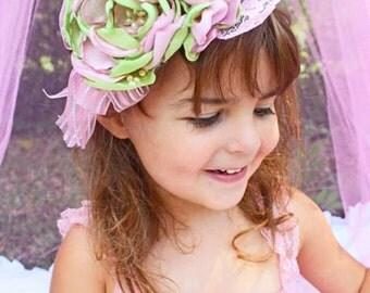 Green and Pink  Baby Headband- Newborn Photo Prop- Infant Headband, Toddler, Girl-Photo Prop-Couture Headband