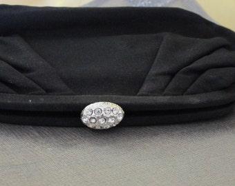 Formal Black Vintage Clutch with Rhinestone Clasp
