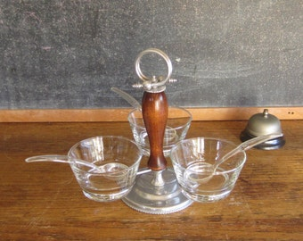 Condiment Serving Tray  with 3 Bowls and Ladles - 1960's