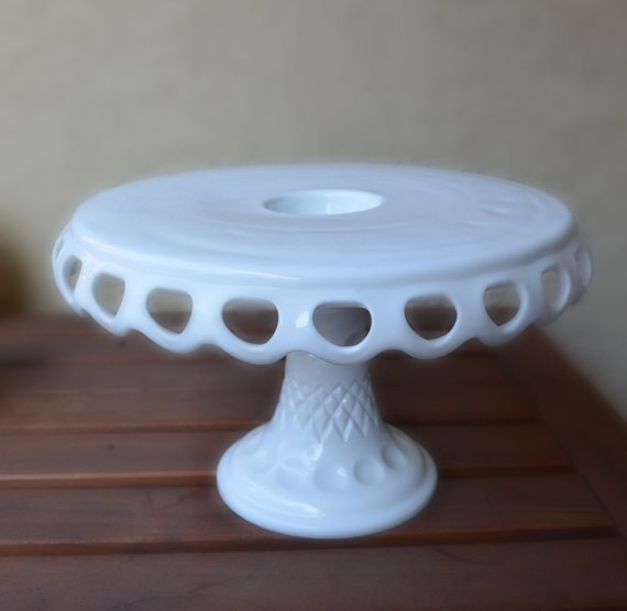 12 inch cake stand large 12 inch milk glass pedestal cake stand with eyelets 1017
