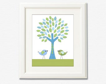 Blue and green LOVE BIRDS Nursery Art Print, 8x10, nursery wall art, Kids Room Decor, green, blue,TREE