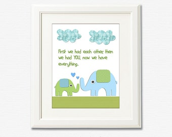 Green and blue elephant Nursery Art Print, 8x10, nursery wall art, Kids Room Decor, green, blue,TREE, first we had each other..
