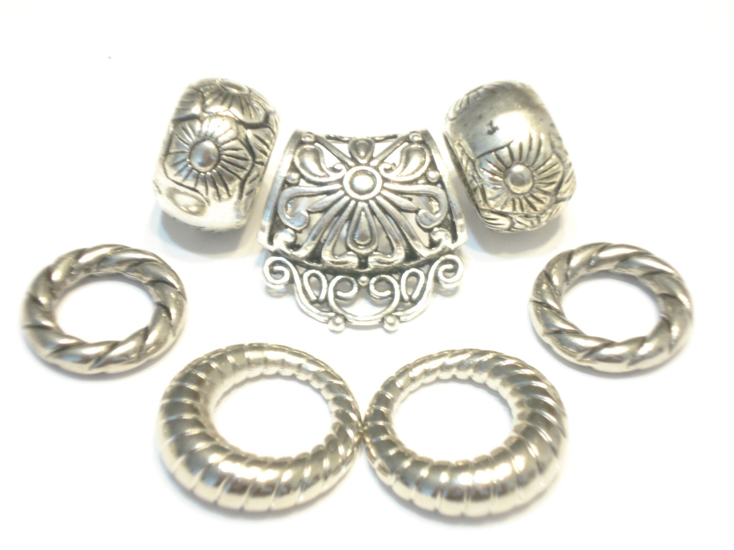 scarf jewelry components beaded scarf ring pattern silvery