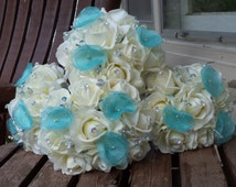 Real Touch White Rose and Blue / 4 Bridesmaid Bouquets and 4 Boutonnieres / Aqua / Pool Blue / Spa Bue / Silk Wedding Flowers / 8 Pieces