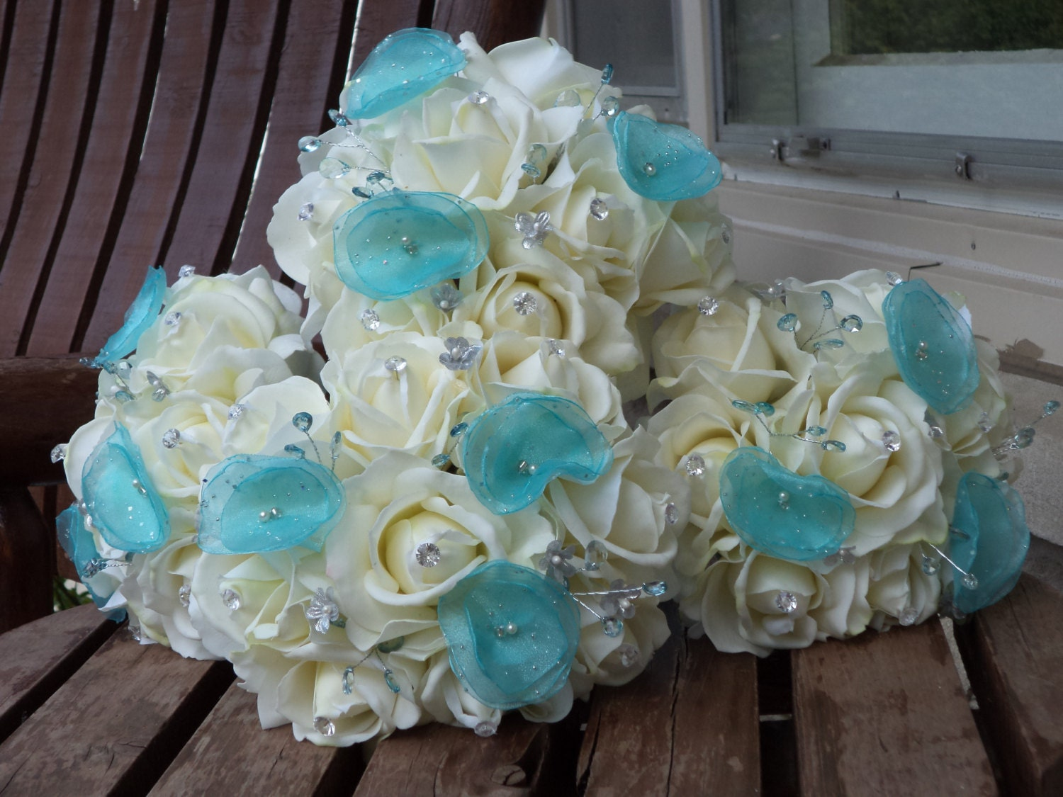 Pool Blue Wedding Bouquets : Real touch white rose and blue bridesmaid bouquets