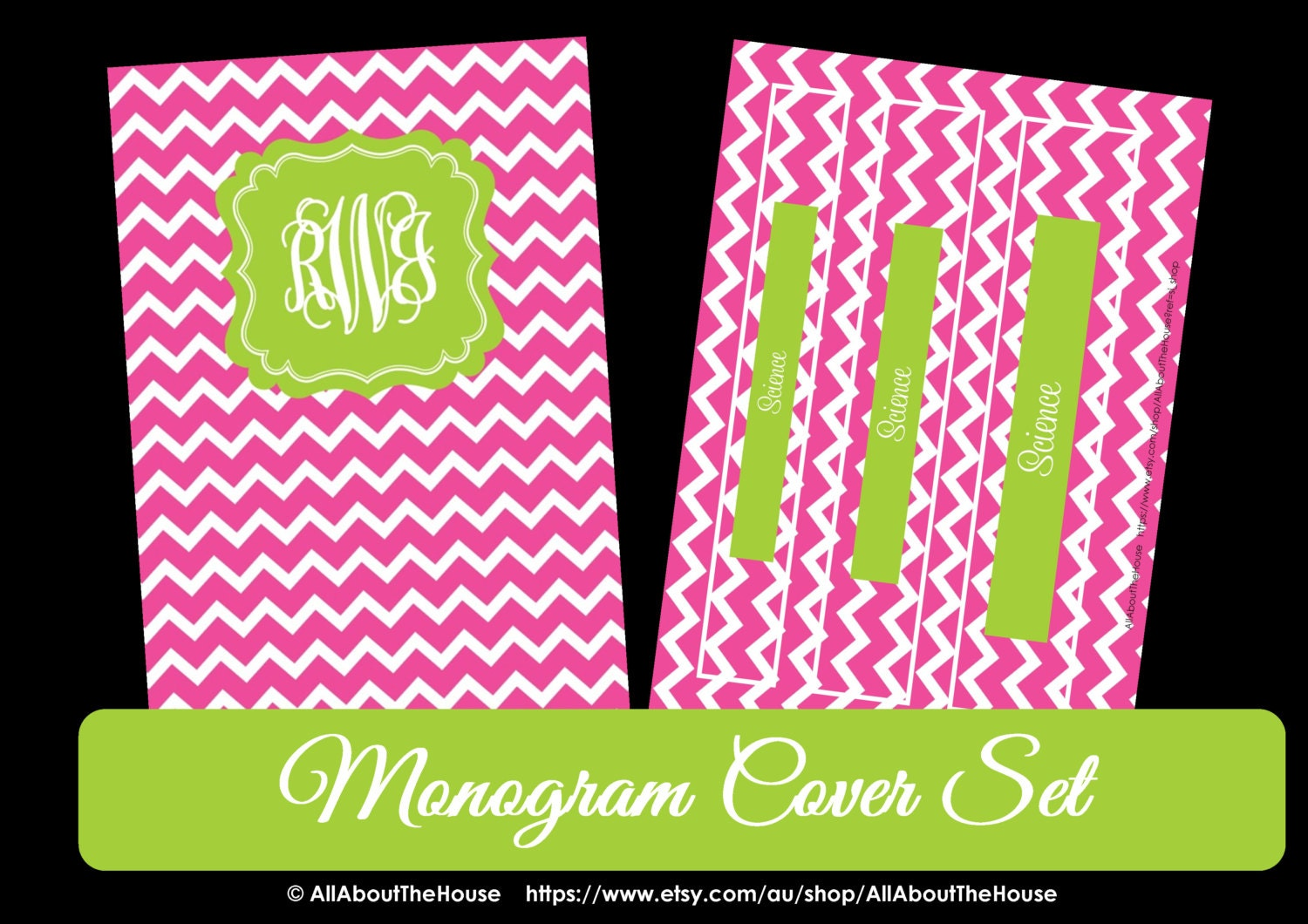 This is an image of Obsessed Printable Monogram Binder Cover