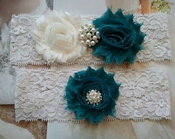 Wedding Garter, Bridal Garter, Garter - Ivory/Teal Flowers on a Stretch Ivory Lace with Pearls & Rhinsteones - Style G20000