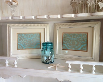 Creamy White Ornate Frames (Set of 2), White Beaded Trim Frames (Set of 2), Fancy White Frames (Set of 2), Beaded Trim Frames (Set of 2)