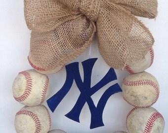New York Yankees Burlap Baseball Wreath