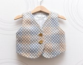 Toddler wool vest in pastel blue, brown and grey Polka dot baby vest with golden buttons, linen lining. Size 1-2,5 years - ZanziBach