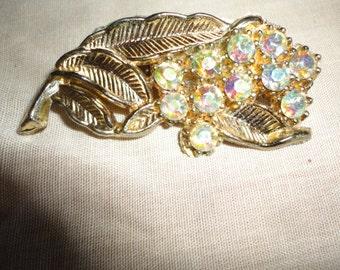 Aurora Borealis Rhinestone Flower Brooch Pin ladies Vintage