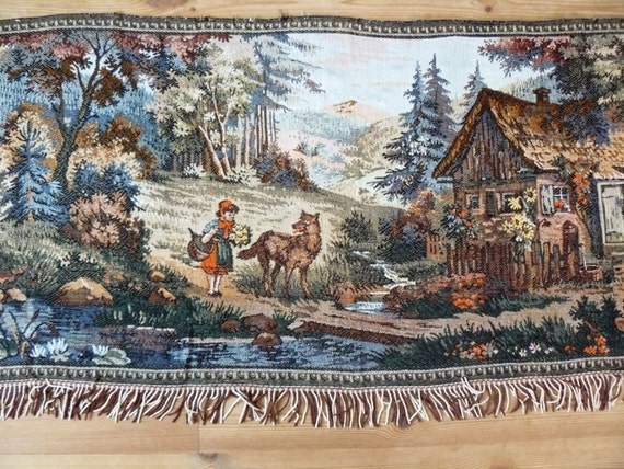 Soviet Vintage Tapestry Textile Wall Hanging Little Red