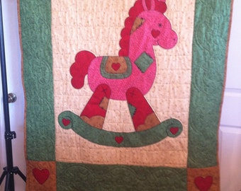 "Custom made rocking horse quilt 45"" x 59"""