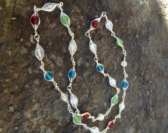 "Long Beaded Necklace, multi colored necklace, Herringbone weave necklace, wire wrapped necklace, cultured sea glass jewelry, ""Jetsons"""